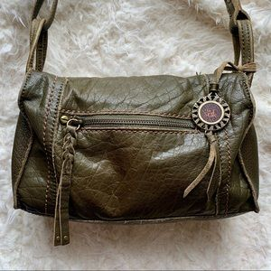 The SAK Leather Crossbody Green Brown Purse